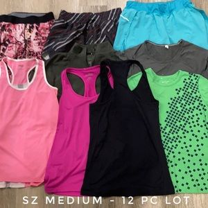 12 Pc Womens workout athletic gym clothes lot Med.